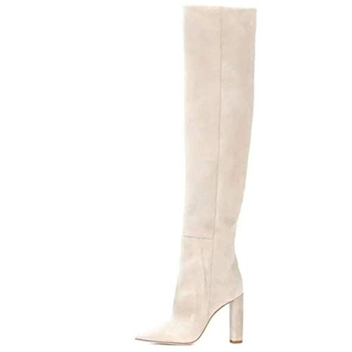 XIALIUXIA Otoño Invierno Mujer Rodilla Boots, Moda Boots Tramo sobre La Rodilla Peep Toe Tacón Alto Jeans Botas Zapatos,42
