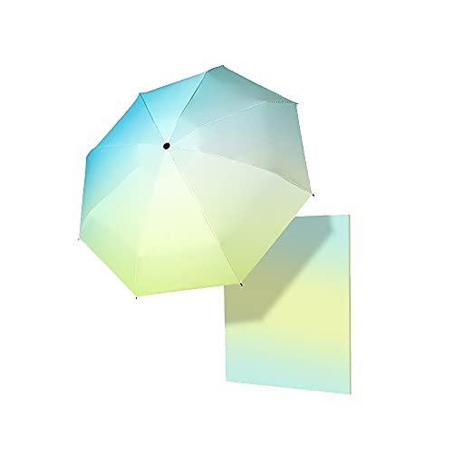 TreeLeaff Paraguas plegable de color rosa azul con cierre automático y 3 costillas, paraguas de viaje para sol, lluvia, deportes al aire libre, ligero, portátil