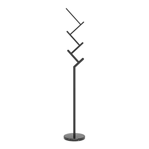 LICHUAN Perchero de mármol simple juego exterior de soporte de metal moderno creativo para el hogar, dormitorio, habitación, piso, bolsa europea, fácil montaje (color: negro)