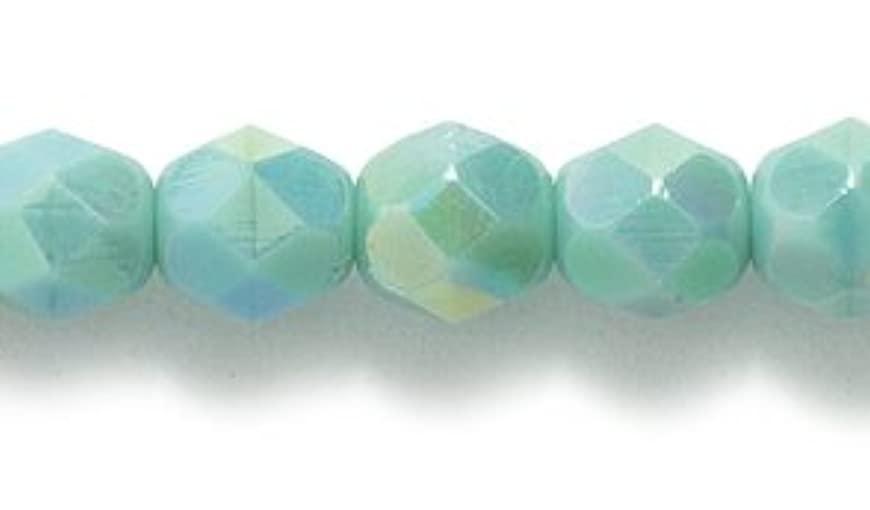 Preciosa Czech Fire 6 mm Faceted Round Polished Glass Bead, Turquoise Green Aurora Borealis, 100-Pack nbrnylod046