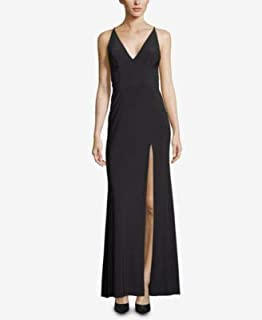 XSCAPE Womens Black Slitted V Neck Maxi Evening Dress US Size: 6