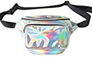 Amily Holographic Rave Fanny Pack Waist Bag for Rave Festivals Hiking Running