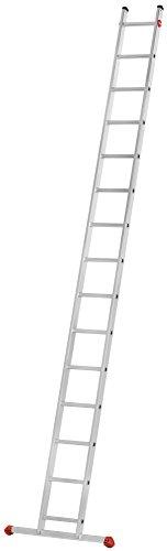 Hailo S60 ProfiStep uno Anlegeleiter   Leiter 15 Sprossen   Alu Sprossenleiter mit 2 Tatzenfüßen   belastbar bis 150kg   Aluminium Leiter made in Germany   Sprossen Anlegeleiter rostfrei   silber