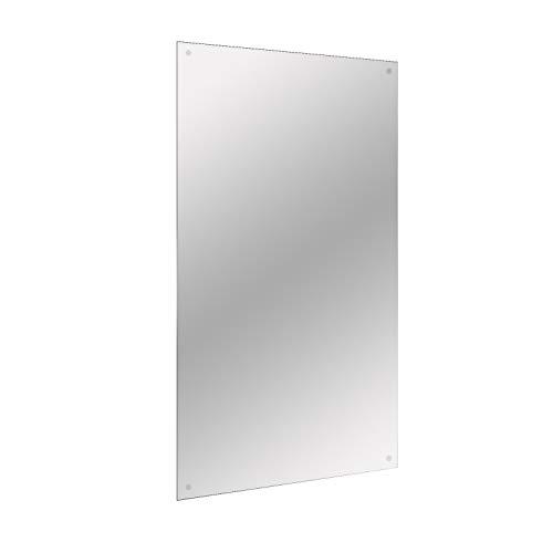 Maison & White 450x300mm Miroir Rectangle Sans Cadre | Comprend les fixations de suspension chromées | Trous pré-percés | Miroir de salle de bain rectangulaire rectangulaire sans cadre