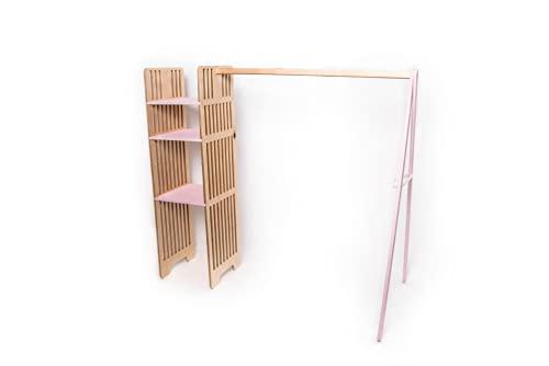 Los niños armario de madera ropa perchero de ropa de los niños vestir almacenamiento armario de niños montessori muebles de la habitación (Wardrobe)