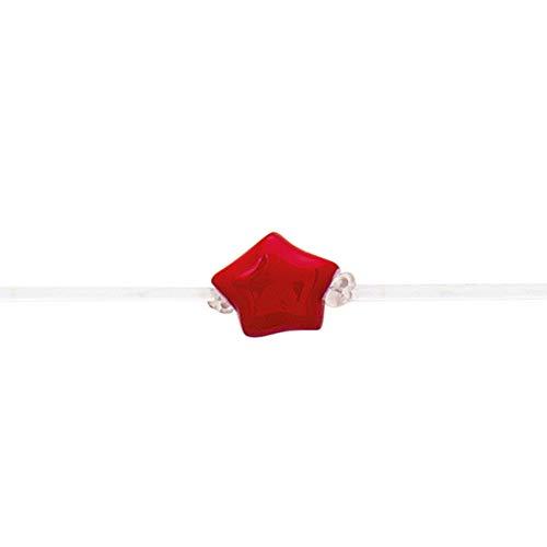 hoops Bracciale Cuore e Stella Braccialetto regolabile in gomma e argento Stella e cuore Rosso Bianco Nero Turchese Rosa (Stella Rossa)