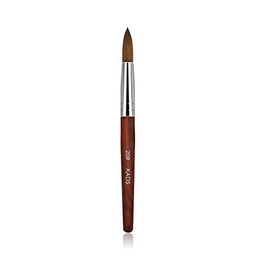 Kads Pinceau pour ongles et manucures en poil de martre, 100% acrylique, en bois rouge, outil de nail art, -12,14,16,18, 20 #, Red, 20#