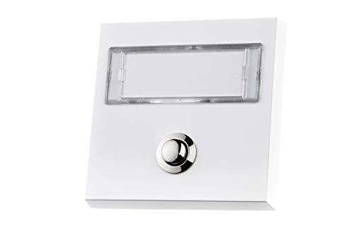 HUBER Klingel Klingeltaster 12067, 1-fach aufputz, rechteckig, Echtmetall, weiß, mit großem Namensschild aus Polycarbonat und LED Hintergrundbeleuchtung, auch für lange und Doppelnamen