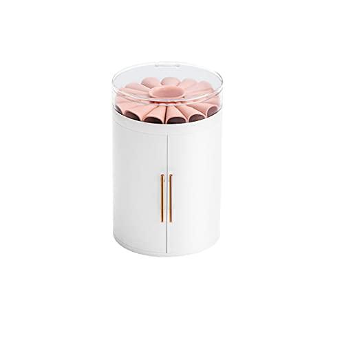 ROEWP Pendientes de joyería cilíndrica Pendientes y Collar Pantalla Soporte Caja de Almacenamiento de joyería de Gran Capacidad, Sellado para Evitar el Polvo y la oxidación (Color : White)