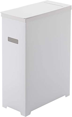 山崎実業(Yamazaki)スリム蓋付きゴミ箱ホワイト約W19XD40XH54cmタワー折り畳んで運べる5203