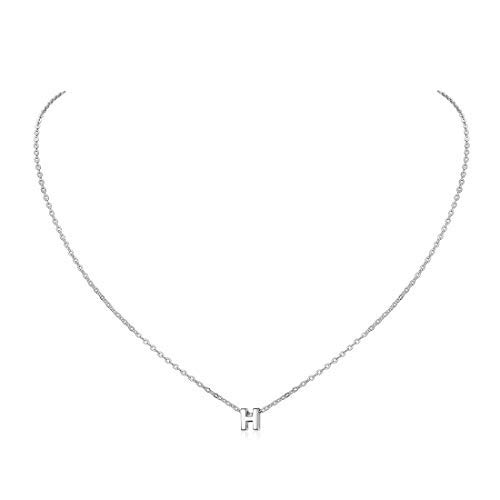 Silver Initial H Choker Necklace for Women Girls Everyday Jewelry Letter Pendant with Rolo Chain