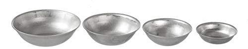 Melody Jane Dollhouse 4 Silver Mixing Bowls Miniature Kitchen Baking Cooking Accessory