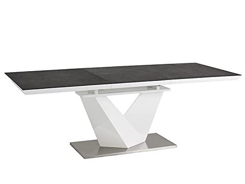 LUENRA ARONII - Mesa de comedor rectangular (extensible), cristal negro templado 120 (180) x 80 x 75 cm, madera lacada blanca, plataforma de acero cepillado