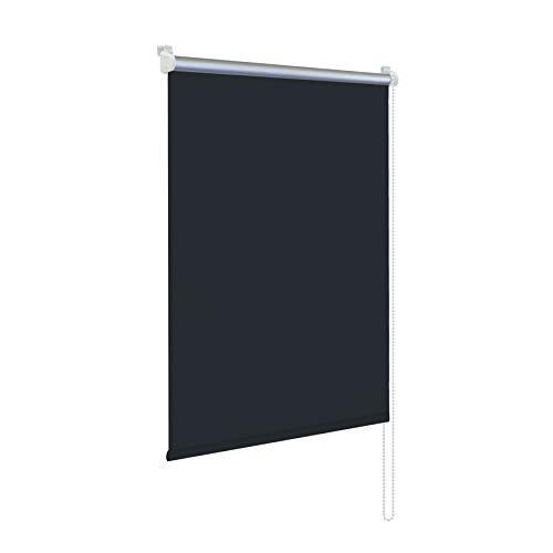 Rapid Teck® Klemmfix Thermo Verdunkelungsrollo 115cm x 150cm schwarz Verdunklungsrollo Seitenzug Klemmrollo + Kindersicherung
