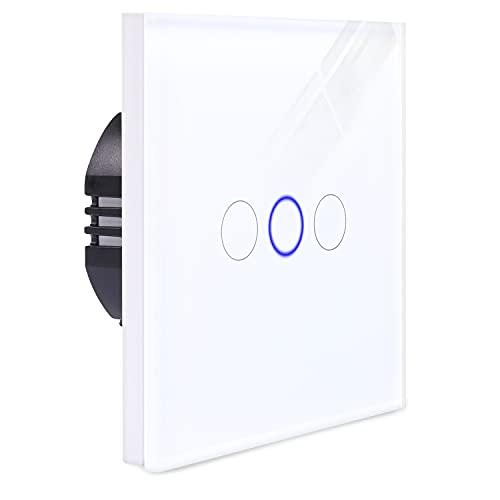 Navaris Interruptor de luz táctil para pared - Caja de cristal con pantalla táctil - Con 3 pulsadores indicador LED y material de montaje - Blanco