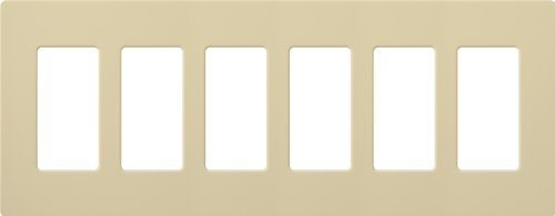 Lutron CW-6-IV Claro 6-Gang Wall Plate, Ivory