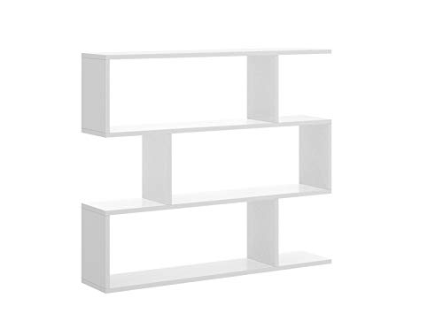 Mobelcenter - Estantería Baja Color Blanco Brillo con 3 Huecos - Librería Baja Color Blanco Brillo - Medidas: Ancho: 96 cm. x Fondo: 25 cm. x Alto: 110 cm. (1021)