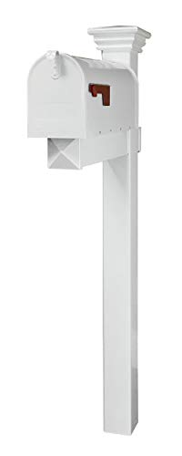 4Ever Products The Buchanan Vinyl/PVC Mailbox Post (Includes Mailbox) Complete Decorative Curbside Mailbox System with Classic Traditional Style (White Mailbox)