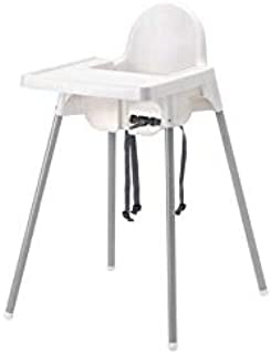 Junior High Chair with Tray, White