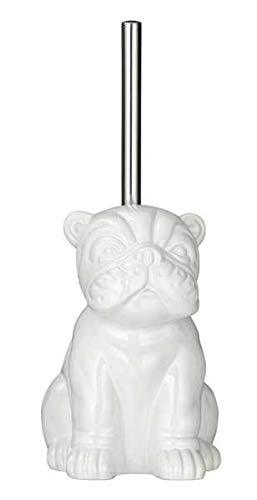 WENKO Zestaw do WC Bulldog, uchwyt na szczotkę toaletową z szczotką do toalety w kształcie buldogu, ceramika, 15 x 69 x 20 cm, biały