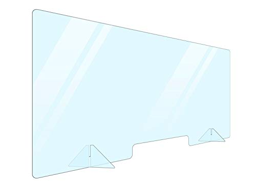Portable Acrylic Plexiglass Sneeze Guard Shield for Counter 48x24. Barrier from Sneezing and Coughing Germs. Cashier Protection Sneeze Guard for Desk and Countertops. Multiple Sizes Available