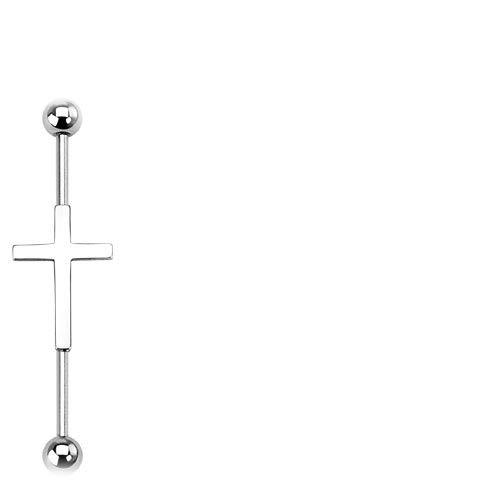 Trendy-Sandy Industrial Piercing - Ohr Kreuz Ohrpiercing Tragus Helix Barbell Hantel Stab Scaffold #82 Silberfarben