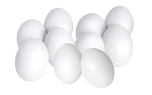 10er-Set VBS Ostereier 6cm Deko-Eier weiß Kunststoff Ostern Ei zum Bemalen