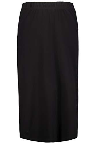 Ulla Popken Femme Grandes Tailles Jupe Droite en Jersey, Stretch Noir 50+ 718201 10-50+
