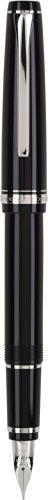 (Fine Nib, Black/Rhodium) - Pilot Namiki Falcon Collection Fountain Pen, Black with Rhodium Accents, Soft Fine Nib (60741)