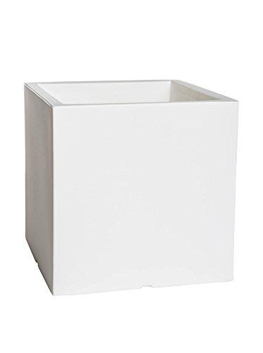 Maceta led de 40 cm de color blanco con luz autorriego y ruedas