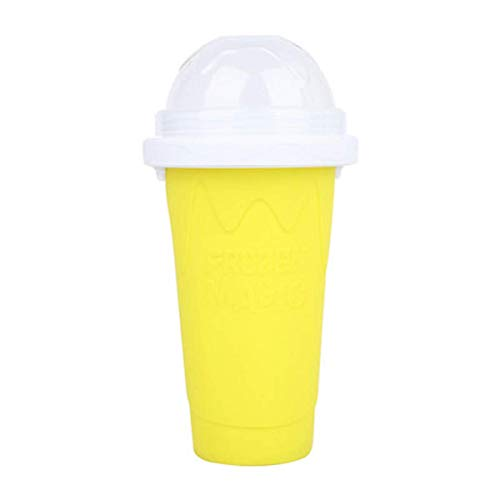 DIY Slushy maker Double Layer Plastic Cup Smoothie Pinch Cup Magic Ice Cup (Yellow)