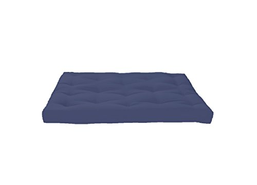 Artiva USA Home Deluxe 8' Futon Sofa Mattress with Inner Spring Made in US for Long-Lasting Use, Solid, Full, Navy Blue