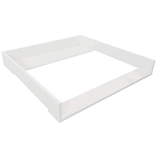 Puckdaddy Wickelaufsatz Espen – 80x78x10 cm, Wickelauflage aus Holz in Weiß, hochwertiger Wickeltischaufsatz passend für IKEA Malm Kommoden, inkl. Montagematerial zur Wandbefestigung