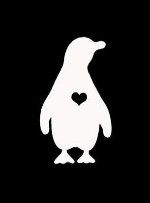 Pegatina de Vinilo con diseño de pingüino con corazón de NOK | Coches, Camiones, Furgonetas, Paredes, Ordenador portátil | Blanco | 4.5 x 2.5 Pulgadas | NOK249