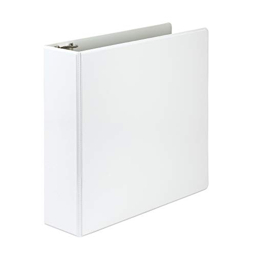 Samsill Economy 3 Ring Presentation View Binder, 3 Inch Round Ring – Holds 550 Sheets, Customizable Clear View Cover, White