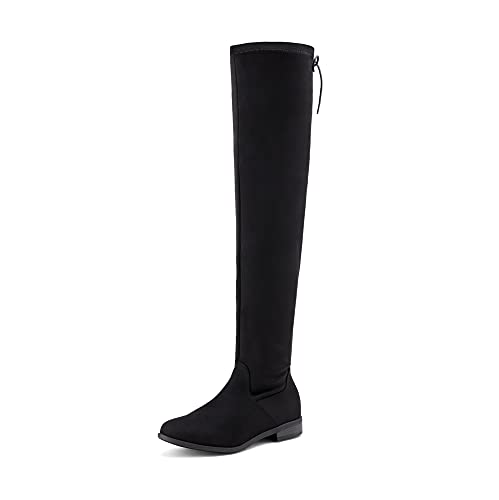 DREAM PAIRS Women's Uplace Black Suede Over The Knee Thigh High Winter Boots Size 6.5 M US