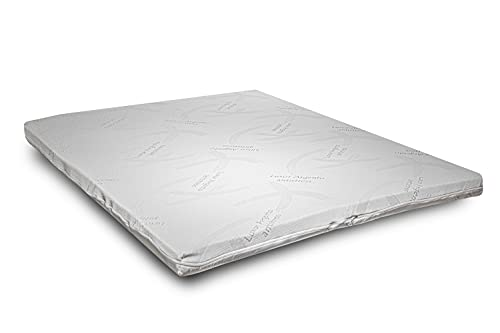 Ecodream - Sobrecolchón de espuma viscoelástica de 140 x 190 cm. Corrector de colchón refrescante para cama, 5 cm de altura, con funda plateada desenfundable hipoalergénica. 100% fabricado en Italia.