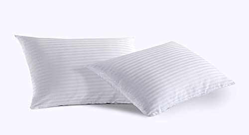 2 Pack Toddlers Zip Pillow Protectors 13x18 Cotton Sateen Tight Weave High Thread Count 400 Style White Hotel Quality Non Noisy