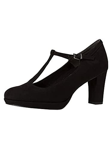 Tamaris Damen Pumps, Frauen Riemchen Pumps,lose Einlage, t-spange elegant edel Business-Schuh Office weiblich Lady Ladies Women,Black,40 EU / 6.5 UK