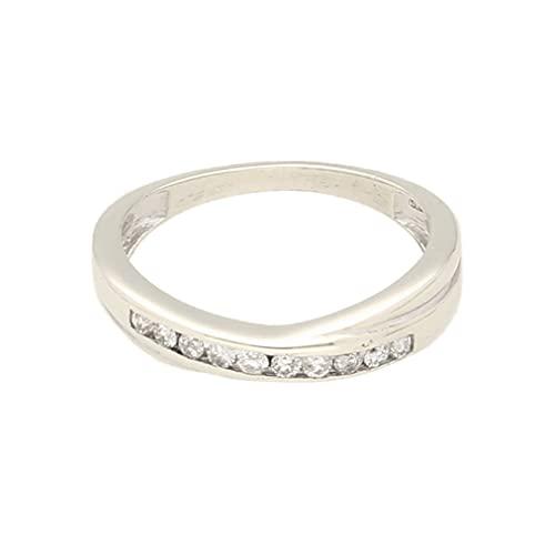 Anillo de eternidad para mujer de oro blanco de 9 quilates de 0,20 quilates (talla K) 3 mm de ancho, anillo de lujo para mujer