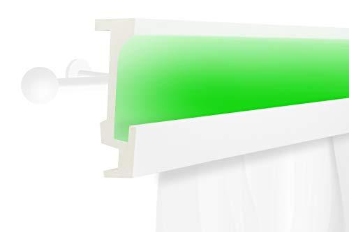 2 Meter | LED Gardinen Blende | indirekte Beleuchtung | Stuck | lichtundurchlässig | wetterbeständig | 160x56mm | KF804
