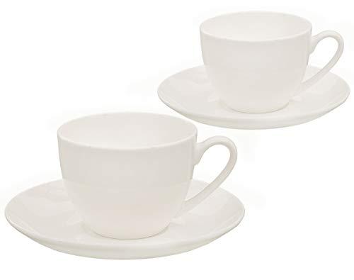Buchensee Kaffeetassen Set aus Fine Bone China Porzellan. 2 Kaffeetassen je 210ml und 2 Unterteller in fein-cremigem Weiß.