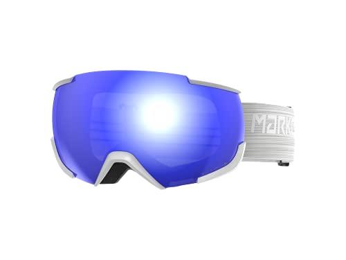 Marker 16:10+ SNOWWHITE w/Blue HD Mirror Gafas de esquí, Unisex Adulto, Large fit