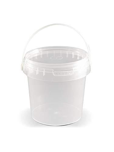 T4W Leere Kunststoff Eimer mit Deckel - Plastik - transparent weiß (100, 1L)