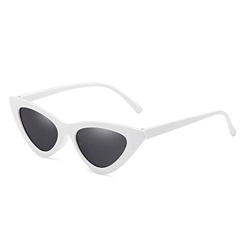 NJJX Gafas De Sol De Ojo De Gato Negras Para Mujer, Gafas De Sol De Ojo De Gato Con Montura Pequeña Y Gradiente De Moda Para Mujer, Blanco-Negro