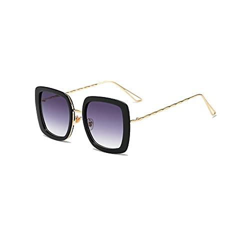 Dabeigouztyjn Gafas de Sol, 1pcs Gafas de Sol Marco de Metal Cuadrado para Mujeres Gafas de Sol Lente clásica de gradiente (Color : Gold)