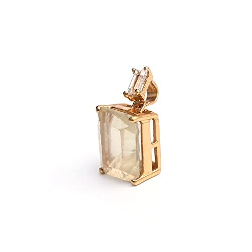 HIFLYER JEWELS Impresionante colgante de cuarzo lechoso chapado en oro de plata de ley 925 con piedras preciosas de topacio blanco, joyería para mujer, joyería de boda,