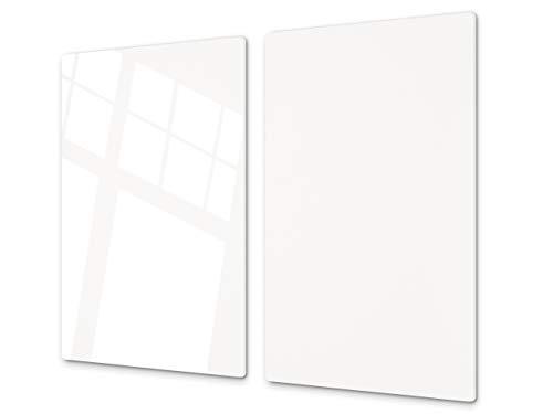 Tabla de cortar decorativa de cristal templado y cubre vitro – Dos en Uno – Resistente a golpes y arañazos – UNA PIEZA (60 x 52 cm) o DOS PIEZAS (30 x 52 cm); D17 Serie En blanco y negro: White