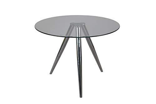 SalesFever tafel eettafel rond met glasplaat en chroomframe Ø100 cm chroom, glas L = 100 x B = 100 x H = 75 chroomkleuren, transparant