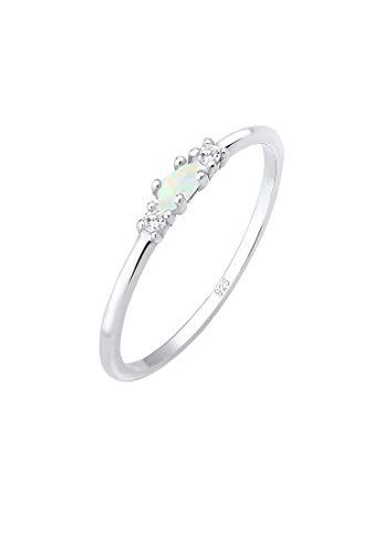 Elli Ring Damen Vintage mit Zirkonia Kristallen und Opal in 925 Sterling Silber